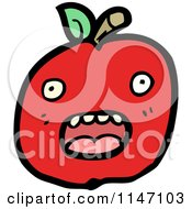 Cartoon Of A Red Apple Mascot Royalty Free Vector Clipart by lineartestpilot
