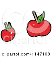 Cartoon Of Red Apples Royalty Free Vector Clipart by lineartestpilot