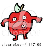Cartoon Of A Scared Red Apple Mascot Royalty Free Vector Clipart
