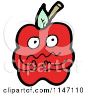 Cartoon Of A Nervous Red Apple Mascot Royalty Free Vector Clipart by lineartestpilot