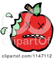 Cartoon Of A Dead Red Apple Mascot Royalty Free Vector Clipart by lineartestpilot