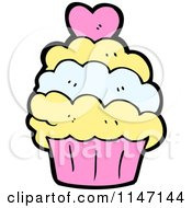 Cartoon Of A Cupcake Royalty Free Vector Clipart