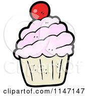 Cartoon Of A Cupcake Royalty Free Vector Clipart by lineartestpilot