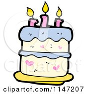 Cartoon Of A Birthday Cake With Candles Royalty Free Vector Clipart by lineartestpilot