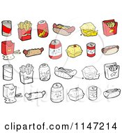 Cartoon Of Fast Foods Royalty Free Vector Clipart