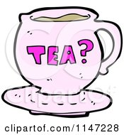 Cartoon Of A Pink Tea Cup Royalty Free Vector Clipart by lineartestpilot