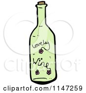 Cartoon Of A Green Wine Bottle Royalty Free Vector Clipart