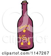 Cartoon Of A Red Wine Bottle Royalty Free Vector Clipart by lineartestpilot