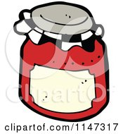 Cartoon Of A Jar Of Red Fruit Preserves Royalty Free Vector Clipart