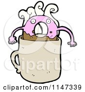 Cartoon Of A Pink Donut Mascot In Coffee Royalty Free Vector Clipart by lineartestpilot