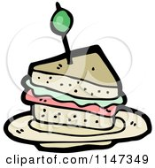 Cartoon Of A Sandwich Royalty Free Vector Clipart