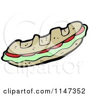 Cartoon Of A Sandwich Royalty Free Vector Clipart by lineartestpilot