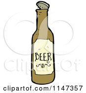 Cartoon Of A Beer Bottle Royalty Free Vector Clipart by lineartestpilot