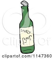 Cartoon Of A Beer Bottle Royalty Free Vector Clipart
