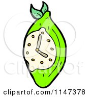 Cartoon Of A Lime Clock Royalty Free Vector Clipart by lineartestpilot