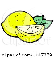 Cartoon Of A Lemon And Wedge Royalty Free Vector Clipart by lineartestpilot