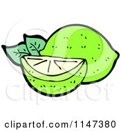 Cartoon Of A Lime And Wedge Royalty Free Vector Clipart by lineartestpilot