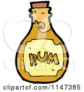 Cartoon Of A Rum Bottle Royalty Free Vector Clipart