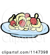 Cartoon Of A Plate Of Spaghetti And Meatballs Royalty Free Vector Clipart by lineartestpilot