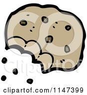 Cartoon Of A Bitten Cookie Royalty Free Vector Clipart