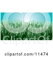 Green Group Of Silhouetted Hands In A Crowd Clipart Illustration