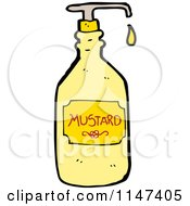 Cartoon Of A Dripping Mustard Bottle Royalty Free Vector Clipart by lineartestpilot