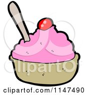 Cartoon Of A Bowl Of Strawberry Ice Cream With A Cherry Royalty Free Vector Clipart by lineartestpilot