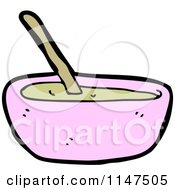 Cartoon Of A Pink Bowl Of Soup Royalty Free Vector Clipart