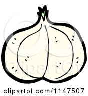 Cartoon Of A Garlic Head Royalty Free Vector Clipart by lineartestpilot