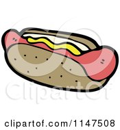 Cartoon Of A Hot Dog With Mustard In A Bun Royalty Free Vector Clipart by lineartestpilot