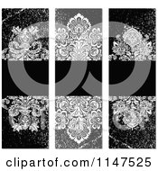Clipart Of Grungy Grayscale Vertical Damask Labels With Copyspace Royalty Free Vector Illustration
