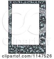 Blue Floral Frame Around Copyspace