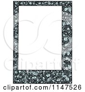 Clipart Of A Blue Floral Frame Around Copyspace Royalty Free Vector Illustration