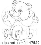 Cartoon Of A Happy Outlined Teddy Bear Royalty Free Vector Clipart by yayayoyo