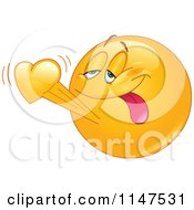 Cartoon Of An Emoticon In Love Royalty Free Vector Clipart