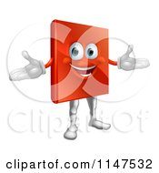 Cartoon Of A Happy Red Book Mascot Royalty Free Vector Clipart