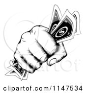 Clipart Of A Retro Black And White Woodcut Fist Holding Cash Money Royalty Free Vector Illustration