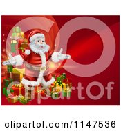 Cartoon Of A Red Christmas Background With Santa And A Tower Of Gifts Royalty Free Vector Clipart