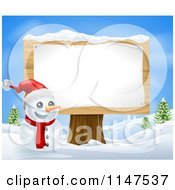 Cartoon Of A Happy Snowman With A Santa Hat And Sign On A Stump Royalty Free Vector Clipart by AtStockIllustration