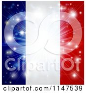 Clipart Of A Bright Burst Of Light Over A French Flag Royalty Free Vector Illustration