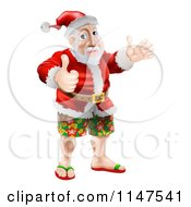 Cartoon Of A Thumb Up Happy Santa Wearing Bermuda Shorts And Sandals Royalty Free Vector Clipart