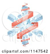 Clipart Of A Red Merry Christmas Greeting Banner Around A Snowflake Royalty Free Vector Illustration by AtStockIllustration