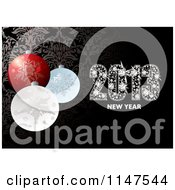 Clipart Of Diamond 2013 New Year Text And Christmas Baubles Over Damask Royalty Free Vector Illustration by michaeltravers