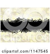 Clipart Of A Background Of Black Grunge Over Golden Snowflakes Royalty Free Vector Illustration