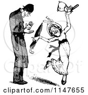 Clipart Of A Retro Vintage Black And White Policeman And Dancing Woman Royalty Free Vector Illustration