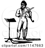 Clipart Of A Retro Vintage Black And White Man Playing A Violin Royalty Free Vector Illustration