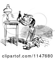 Clipart Of A Retro Vintage Black And White Woman Battling A Wine Bottle Royalty Free Vector Illustration by Prawny Vintage