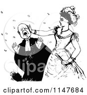Clipart Of A Retro Vintage Black And White Woman Slapping A Man Royalty Free Vector Illustration