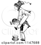 Clipart Of Retro Vintage Black And White Boys Playing Leap Frog Royalty Free Vector Illustration