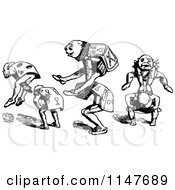 Clipart Of Retro Vintage Black And White Men Playing Leap Frog Royalty Free Vector Illustration
